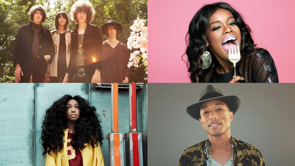 Clockwise from top left) Temples, Azealia Banks, Pharrell Williams, SZA