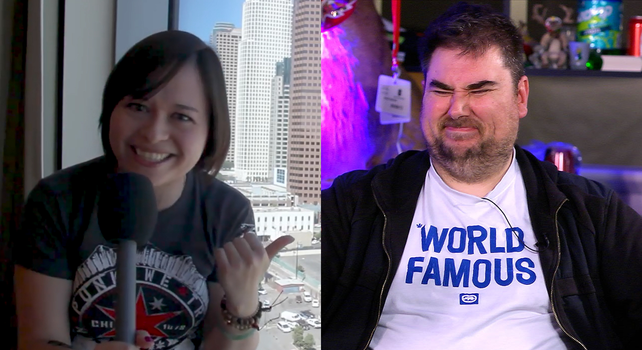 Kim Richards, Yogscast and Jeff Gerstmann (wearing his World Famous T-shirt), Giant Bomb, collage (1280x698)